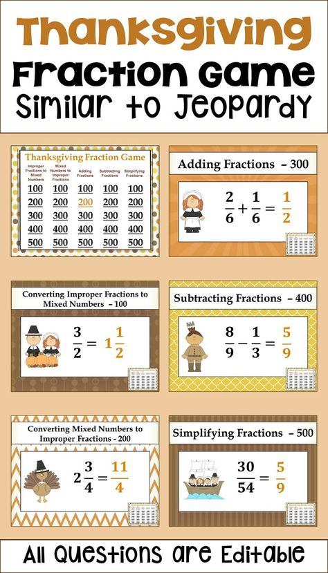 Thanksgiving Fraction Game - similar to Jeopardy | 5th-7th Grade ...
