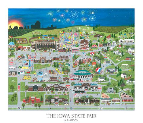 The Iowa State Fair by Iowa City artist Suzanne Aunan $30 (other IA-themed prints, too) #iowa #iowastatefair #butter_cow #ststae_fair #illustration #painting #print #gift #des_moines