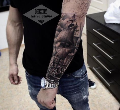 Explore 44 Stunning Ship Tattoos - Tattoo Insider - Ship Tattoo by Vladimir Drozdov -