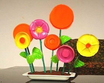 recycled plastic bottle flower garden found at Mum Paints Lives