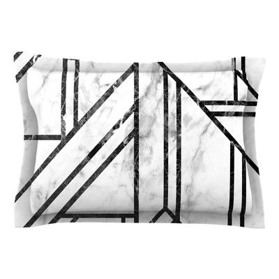 Black Marble Pillow Sham standard or
