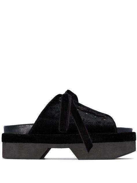 Lace-up Velvet Platform Sandals In