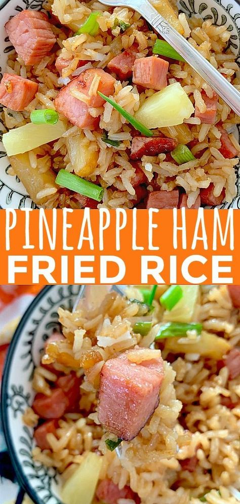 Ham Fried Rice Always have an answer for what's for dinner tonight with this recipe for Easy Fried Rice with Ham and Pineapple.Always have an answer for what's for dinner tonight with this recipe for Easy Fried Rice with Ham and Pineapple. Pork Recipes, Asian Recipes, Cooking Recipes, Healthy Recipes, Recipes For Ham, Recipes With Ham In Them, Goulash Recipes, Cheap Recipes, Asian Desserts