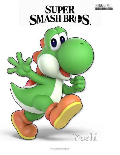 Yoshi Super Smash Bros Ultimate Nintendo Coloring Page Smash