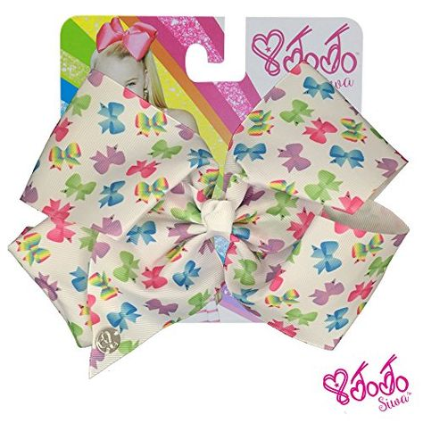 JoJo Siwa Signature Collection Hair Bow with All-Over Bow Print - White With Sticker Patch Set Included: Girls just wanna have big bows fun ! Inspired by the dancing star JoJo Siwa's iconic Big Bow style, the JoJo Siwa Hair Bow/b will make a vivid, bright and fun addition to any girl's accessories collection. The bow is attached to a metal salon clip that makes it easy to wear and keeps it in place throughout the day. The ribbon is made of soft-to-the-touch, yet durable -- because gi...