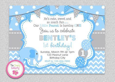 Blue And Grey 1st Birthday Elephant Birthdayinvitation Bluegrey Thetrendybutterfly