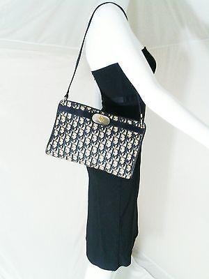 6883bdca37a2 Authentic Vintage Christian Dior Shoulder Bag Trotter Canvas Navy Blue    Beige