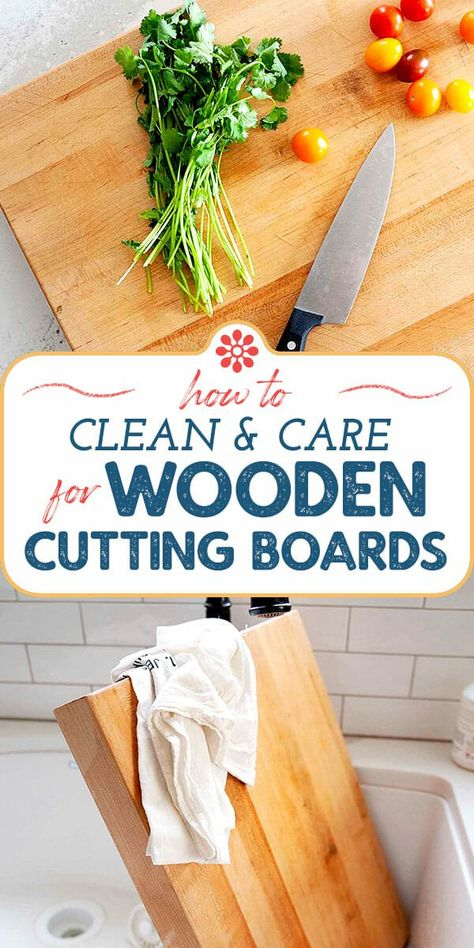 Wood Chopping Board, Bamboo Cutting Board, Cleaning Wood, Cleaning Hacks, Cleaning Solutions, Modern Cutting Boards, Homemade Cleaning Supplies, Simply Recipes, Wooden Kitchen
