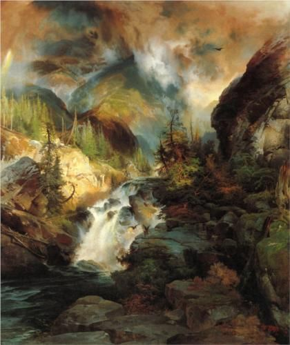 Thomas Moran (1837 - 1926) | Romanticism | Children of the Mountain - 1867