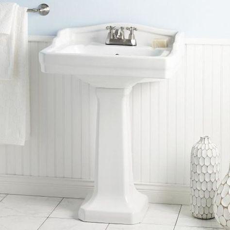 Essex Vitreous China 24 Pedestal Bathroom Sink With Overflow Pedestal Sink Lavatory Sink Sink