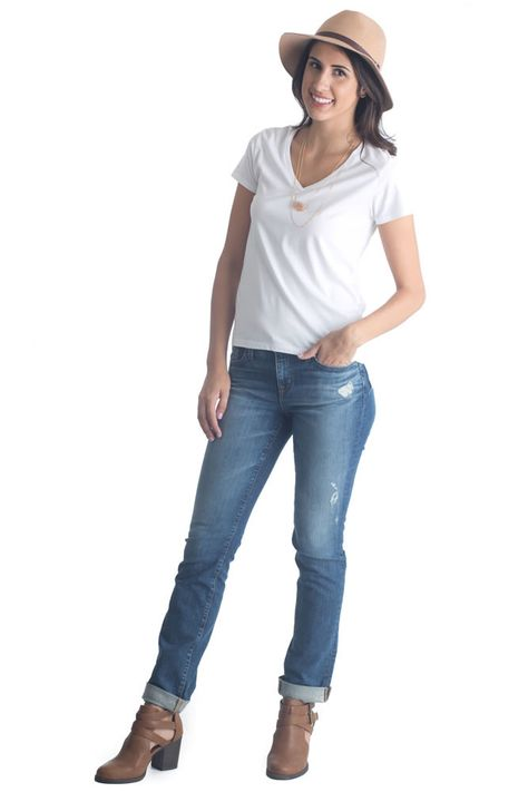 Kate Mid Rise Straight Jeans