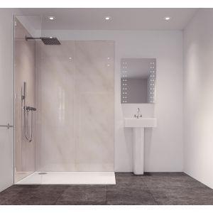 Splashwall Cararra Marble Effect Single Shower Panel L 2420mm W 585mm T 11mm Shower Panels Bathroom Shower Panels Yellow Bathrooms