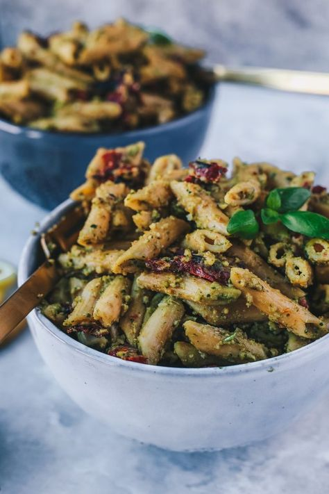 Vegan Cashew Pesto Chickpea Pasta with Sun-Dried Tomatoes