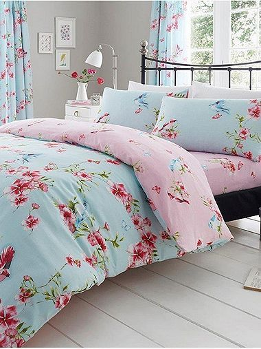 Birdie Blossom Blue Floral Duvet Cover And Pillowcase Set King Size Duvet Covers King Size Duvet Sets Turquoise Duvet Cover
