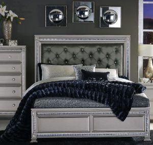 Bevelle Bedroom Set Queen Upholstered Bed Grey Bed Frame