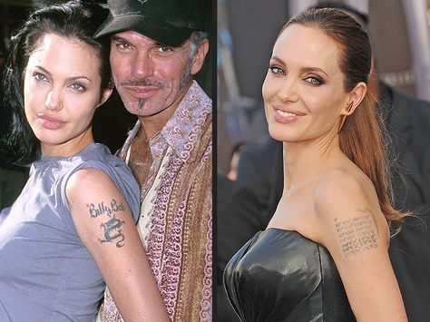 Angelina Jolie has succeeded in scrubbing her public image of those wild days when she was married to Billy Bob Thornton, a feat which took some literal erasing. After her divorce from the Sling Blade actor in 2003, Jolie removed the tattoo of his name from her left arm. She's since replaced it with the coordinates of her globe-spanning family's birthplaces – a handy metaphor for Jolie's image rehabilitation.