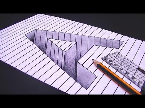 رسم حرف A ثري دي 3d محفور على الورقة خدع بصرية ثري دي Youtube 3d Drawings Epic Drawings Easy Drawings