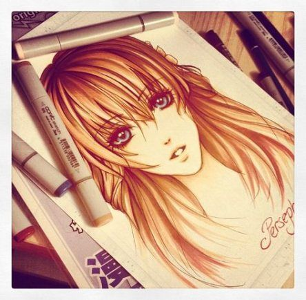 Drawing Girl Manga Colour 34 Ideas Copic Marker Art Anime Drawings Anime