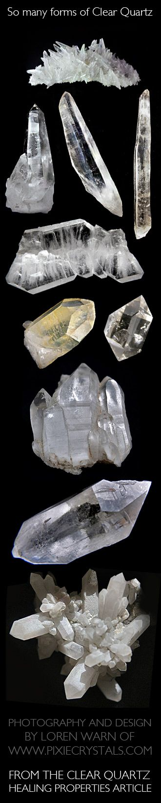 CLEAR QUARTZ Crystal Healing Properties - CLEAR QUARTZ Crystals Meaning, Healing and Further Explanations #pixiecrystals loren warn -x- Click on pic for full article...