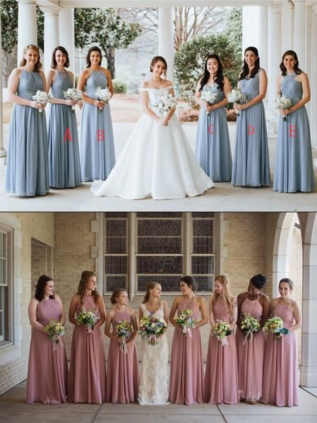 Cheap Chiffon Mismatched  Free Custom Floor-length High Quality A-line Bridesmaid Dresses, WG337