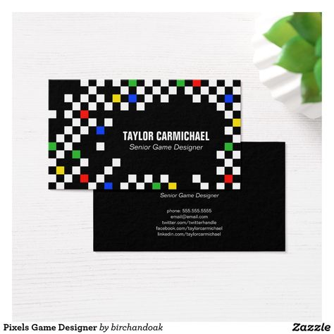 Retro Pixels Game Designer Business Card All Things Zazzle