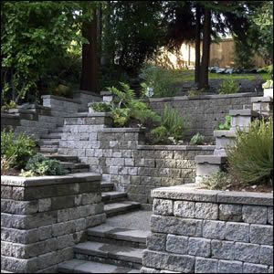 Pros Capped Wall And Steps With Minimal Overhang Matched Materials Cons Wall Stones Relatively Small Lake Landscaping Hardscape Outdoor Inspirations