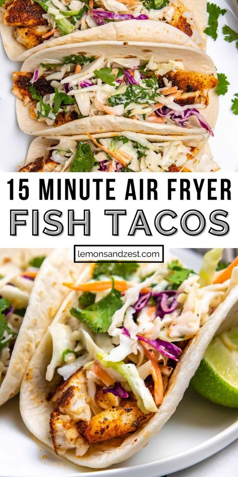 These Air Fryer Fish Tacos are ready start to finish in about 15 minutes. Toss a simple Cilantro Lime Slaw together while the fish air fries and you will have the perfect taco dinner. Use your favorite white fish: tilapia, mahi mahi, cod, etc. A weeknight dinner that is so simple and one that everyone will love!