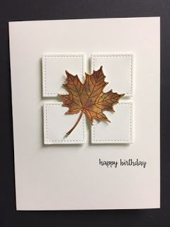My Creative Corner!: Colorful Season, Happy Birthday Gorgeous, Fall Masculine Birthday Card While cleaning up in my workroom (a rarity LOL), I ran across this leaf. I had made it last fall and I used it on a card which I had pos. Masculine Birthday Cards, Birthday Cards For Men, Handmade Birthday Cards, Masculine Cards, Greeting Cards Handmade, Cards For Men Handmade, Happy Birthday Gorgeous, Ballon Party, Diy Halloween Dekoration