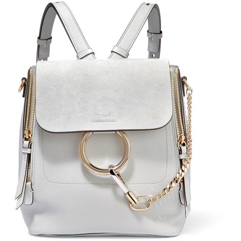 Chloé Faye small textured-leather and suede backpack (5 5b57ede819