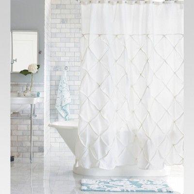 Pinch Pleat Shower Curtain Snow White Threshold Bathroom