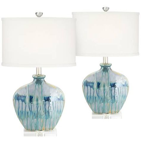 Mia Blue Drip Ceramic Table Lamp Set Of 2 Table Lamp Blue Table Lamp Table Lamp Sets