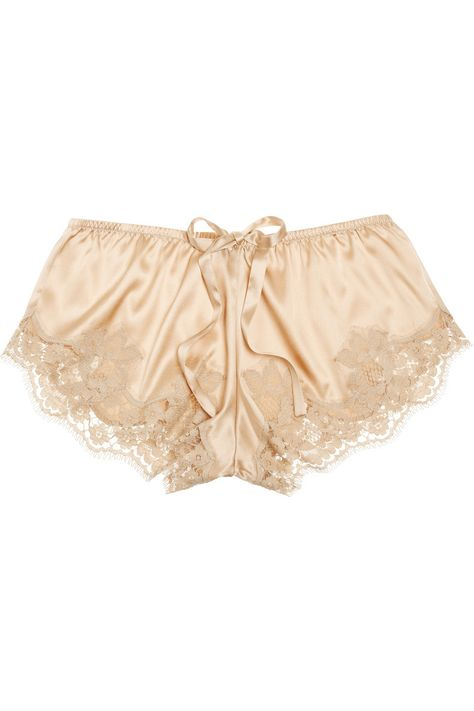 Lace-trimmed stretch-silk satin shorts | THE OUTNET