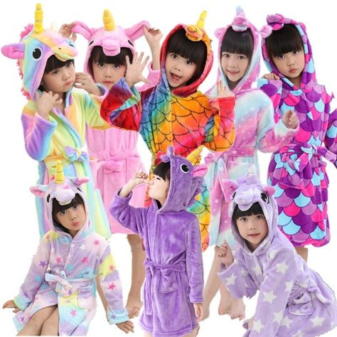 Children Towel Beach Baby Bath Robe Animal Rainbow Unicorn Hooded Bathrobes  For Boys Girls Pyjamas Nightgown Kids Sleepwear Robe 481a8f648