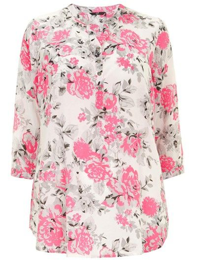 Evans Plus Size Pink Flower Print Collarless White Shirt with 3/4 ...