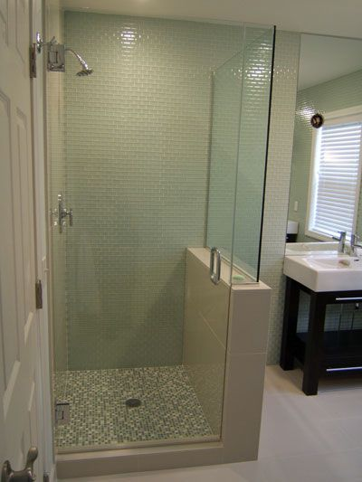 Shower With Half Glass Wall - remove wall and separate toilet door ...