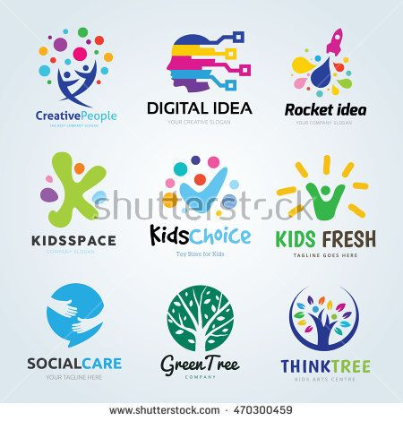 Creative Logo Design Set Brand Identity For Kids Education Idea