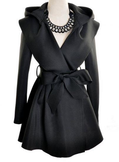 Black Hoodie Belt Waist Open Long Coat - Sheinside.com