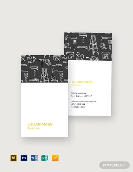 Handyman Business Card Template Free Jpg Illustrator Word Apple Pages Psd Publisher Template Net Business Card Inspiration Handyman Business Business Card Design Creative