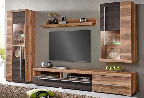ETNA Wohnwand 4-tlg Anbauwand Eiche massiv lackiert (Wohnen - wohnzimmerschrank modern wohnzimmer