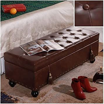 faux leather ottoman footstool