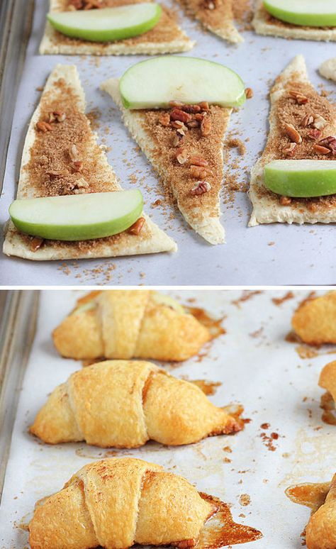 Sweet Apple Crescent Rolls 24 Delicious Thanksgiving Desserts That Aren't Pie Apple Crescent Rolls, Crescent Roll Recipes, Dessert With Crescent Rolls, Crescent Roll Apple Turnovers, Pilsbury Crescent Recipes, Apple Pie Crescents, Cresent Rolls, Apple Recipes, Baking Recipes