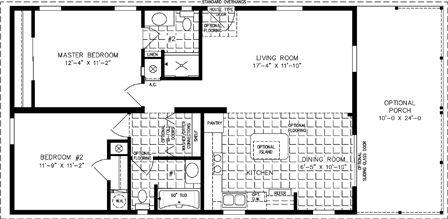 Manufactured Home Floor Plan The Imperial Model Imp 2403a 2 Bedrooms 2 Baths With Images Mobile Home Floor Plans Manufactured Homes Floor Plans Little House Plans
