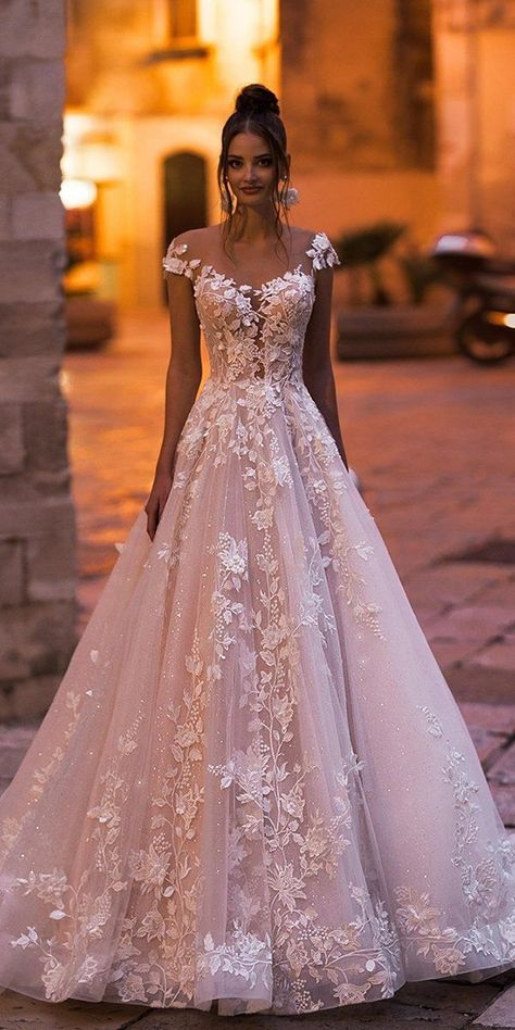27 Best Wedding Dresses For Celebration ❤  best wedding dresses a line blush illusion neckline with cap sleeves floral lace blunnybridal #weddingforward #wedding #bride