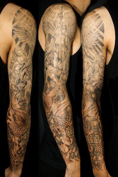 Full Sleeve Tattoo タトゥー デザイン 腕 腕の刺青 スリーブ タトゥー
