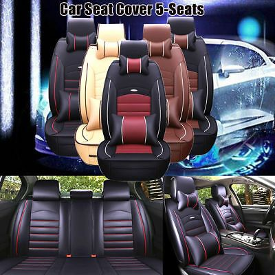 PU Leather Front Bucket Car Seat Covers Luxury Leather Beige w// Dash Mat