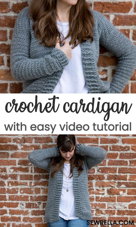 This free crochet cardigan pattern also comes with a handy video tutorial - making it super doable for the beginners crocheter. Click this pin to find even more easy sweater and cardigan patterns! #crochet #sweater #cardigan #forbeginners #beginnersweater #beginnercardigan #freepattern #easypattern #howto #sewrella #diy #crafts #crochetsweater #crochetcardigan #forbeginners