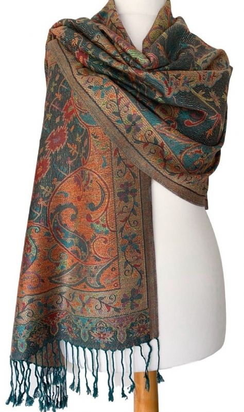 Green Pashmina Aubergine Purple Floral Ladies Shawl Lime Wrap Oversized Scarf