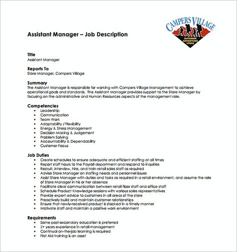 Assistant Store Manager Job Description Free Template , Assistant - store manager job description