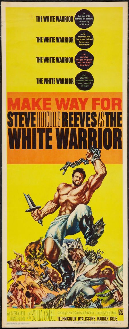 the white warrior warner brothers 1961 insert 14 steve reeves classic film stars film posters vintage