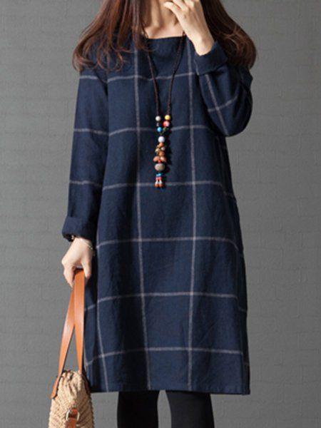 Shop Dresses - Navy Blue Casual A-line Linen Plus Size Casual Dress online. Discover unique designers fashion at PopJuLia.com.